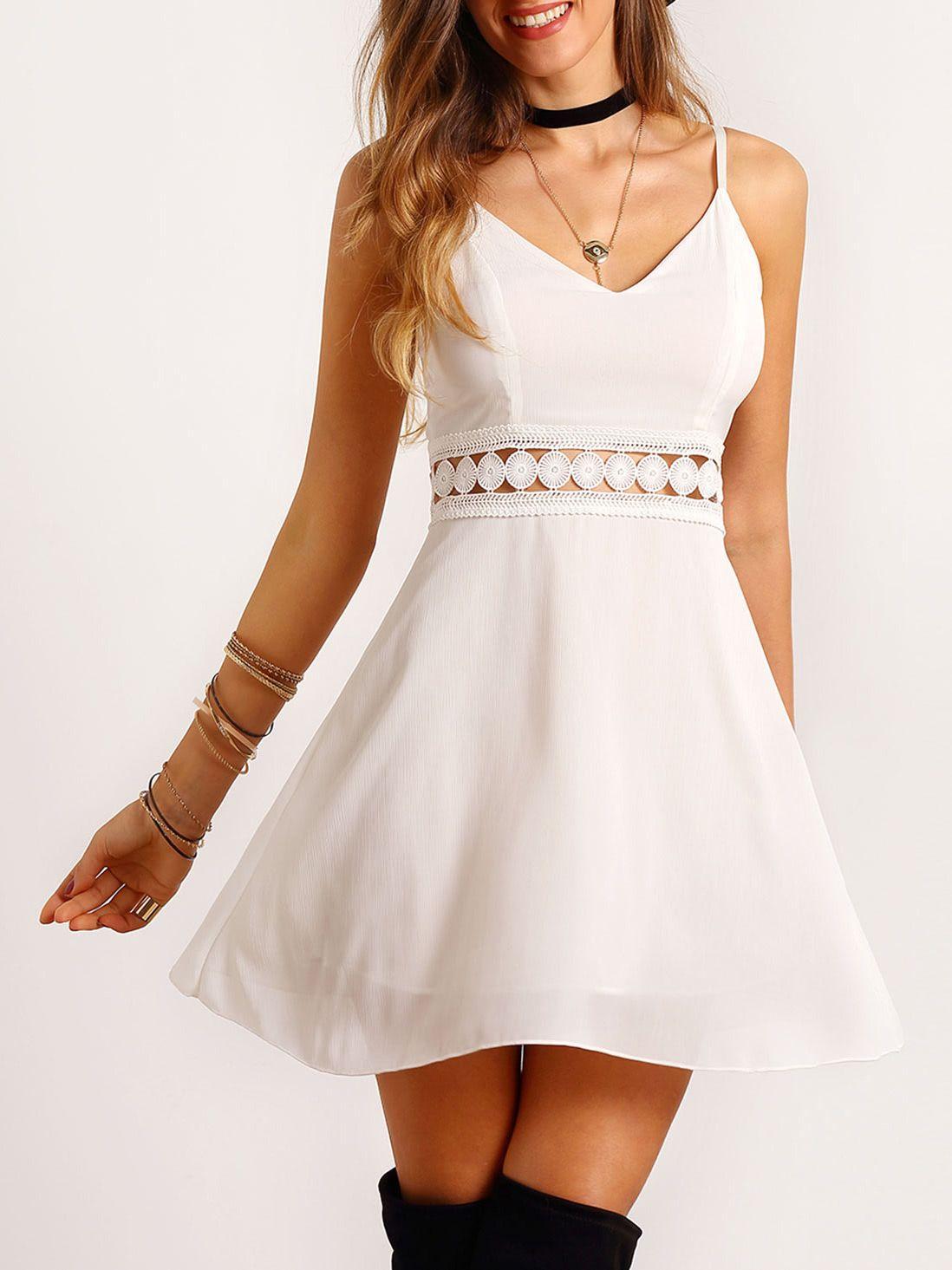 White Spaghetti Strap Lace Slim Dress  Slim dresses, Chiffon mini