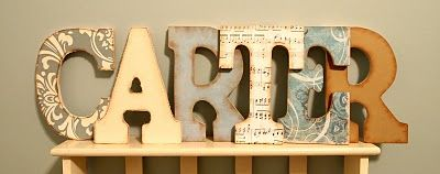 Wood Letters with Scrapbook Paper