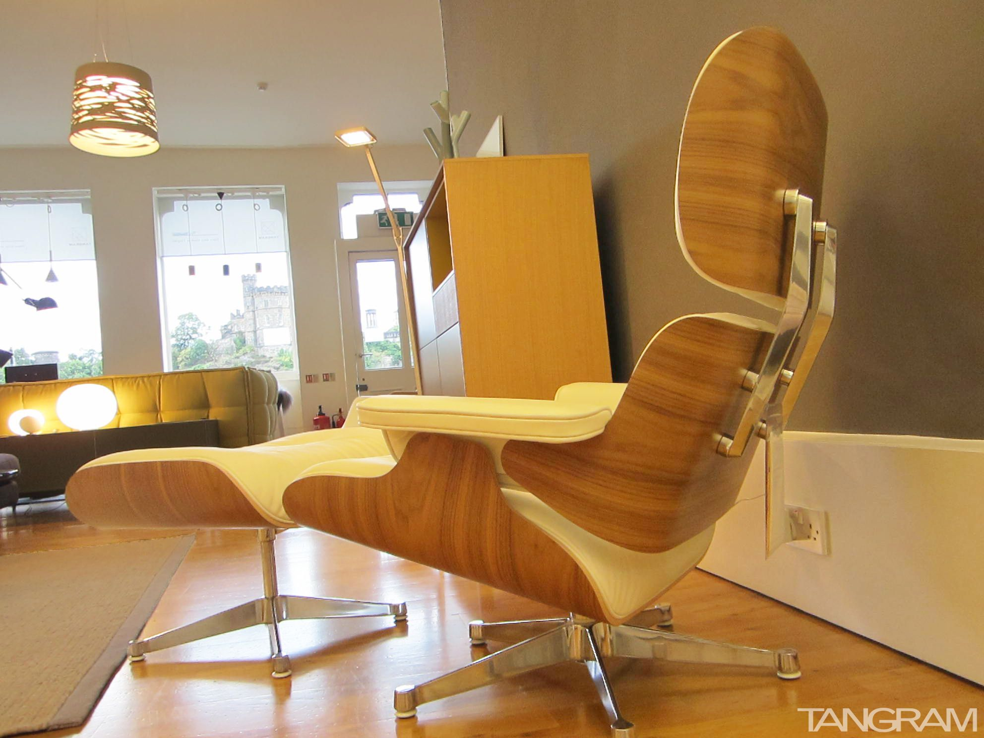 Eames lounge chair and ottoman in 'snow' leather and