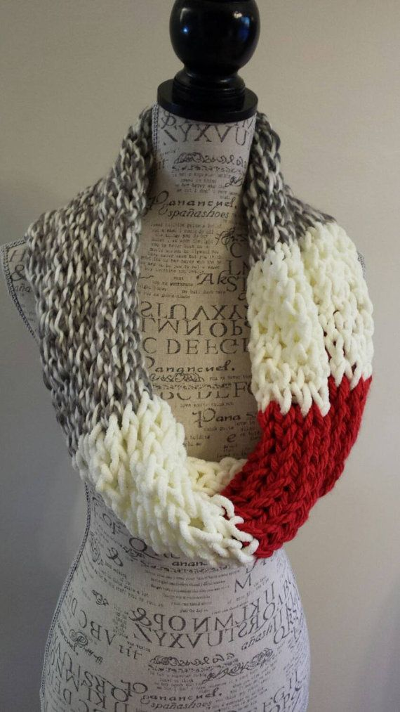 Knit sock monkey color scarf. gray soft white and red by BeadGs ...