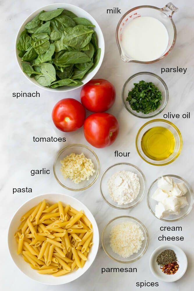 Pasta with Fresh Tomato Cream Sauce (Lightened Up) #tomatocreamsauces