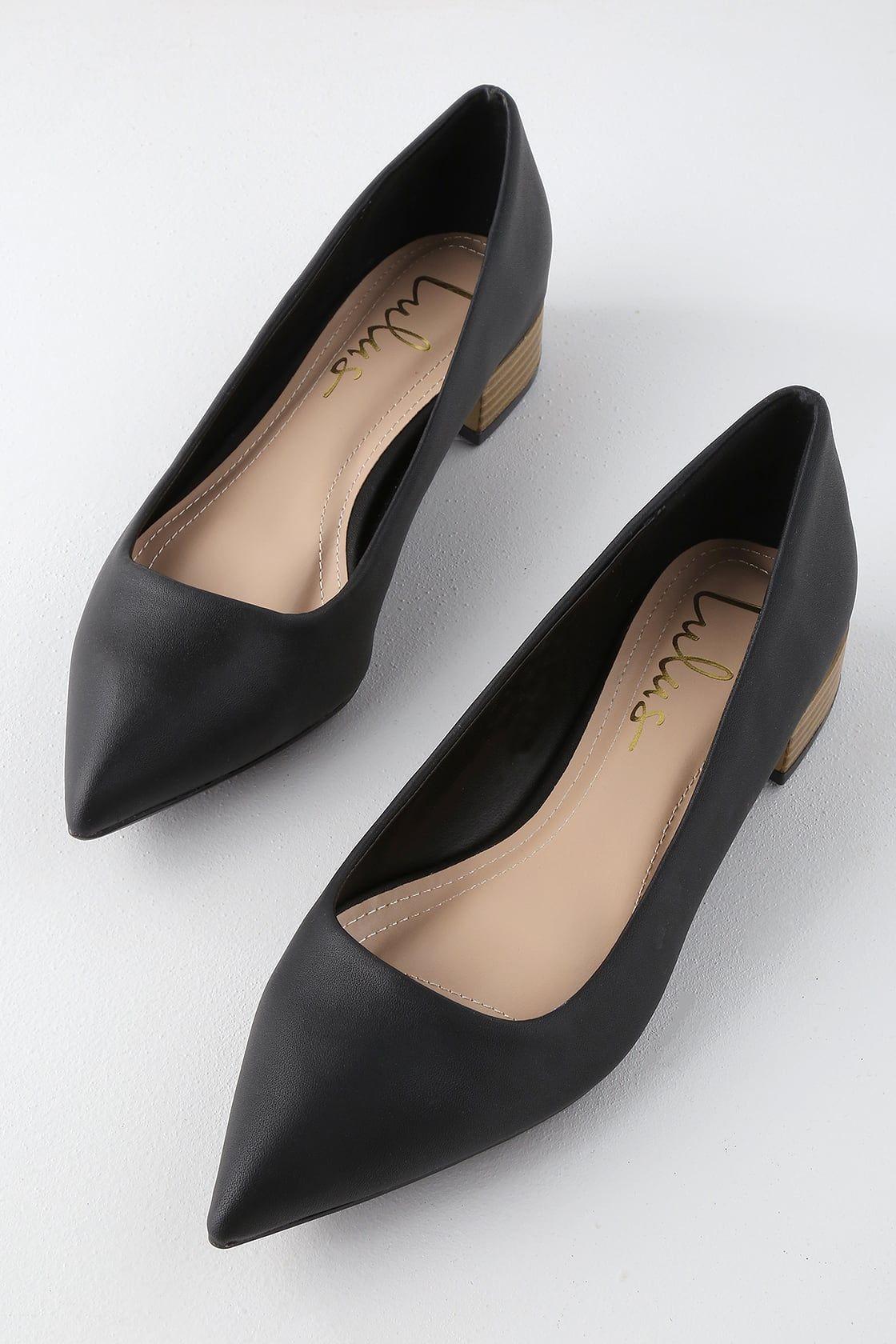 Alessia Black Low Pointed Toe Heels Black Heels Low Pointed Toe Heels Shoes Too Big