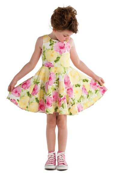 Kate Mack 'Rose' Floral Print Scuba Dress (Toddler Girls, Little Girls & Big Girls)