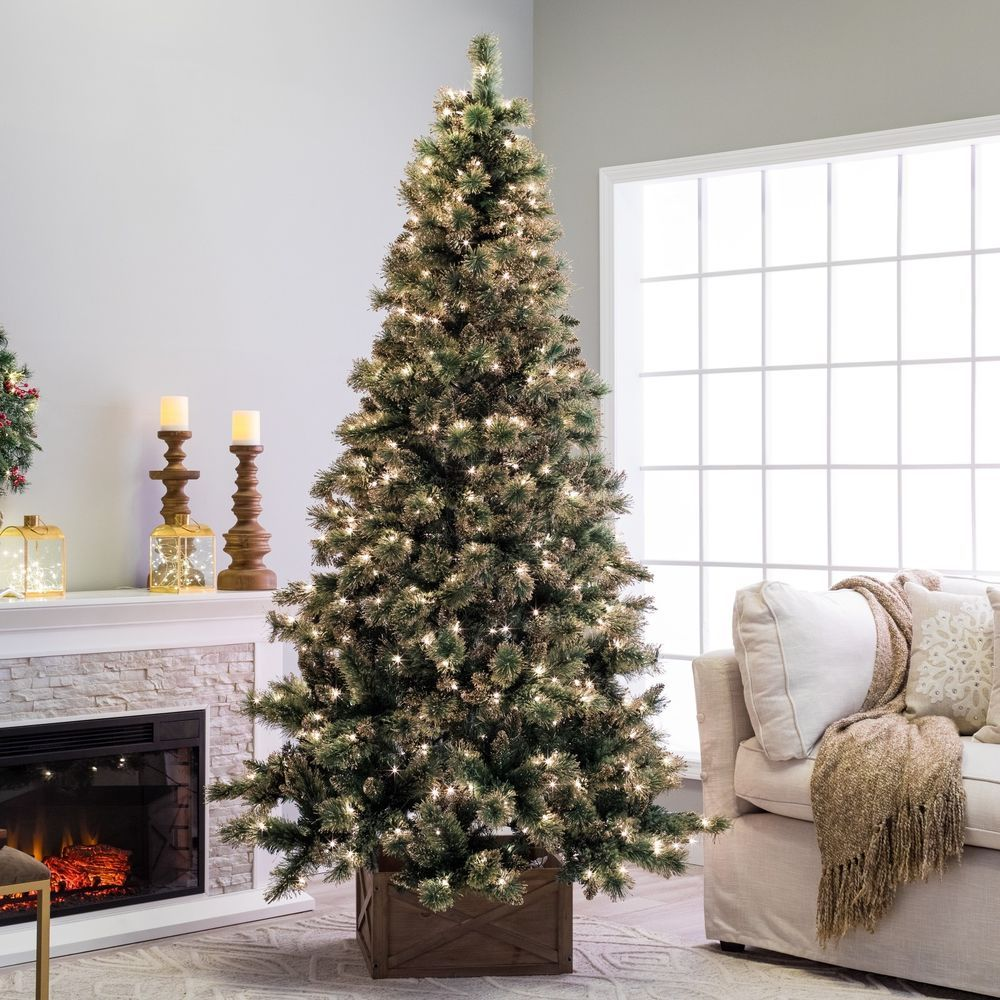 7 5 Ft Pre Lit Gold Dusted Artificial Christmas Tree Lighted Home Holiday Decor Pre Lit Christmas Tree Artificial Christmas Tree Christmas Tree Lighting