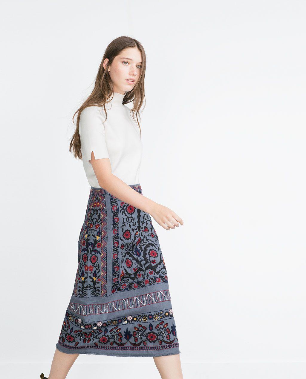 14f9f303a ZARA - WOMAN - MID-LENGTH EMBROIDERED SKIRT | Fashion Wishlist ...