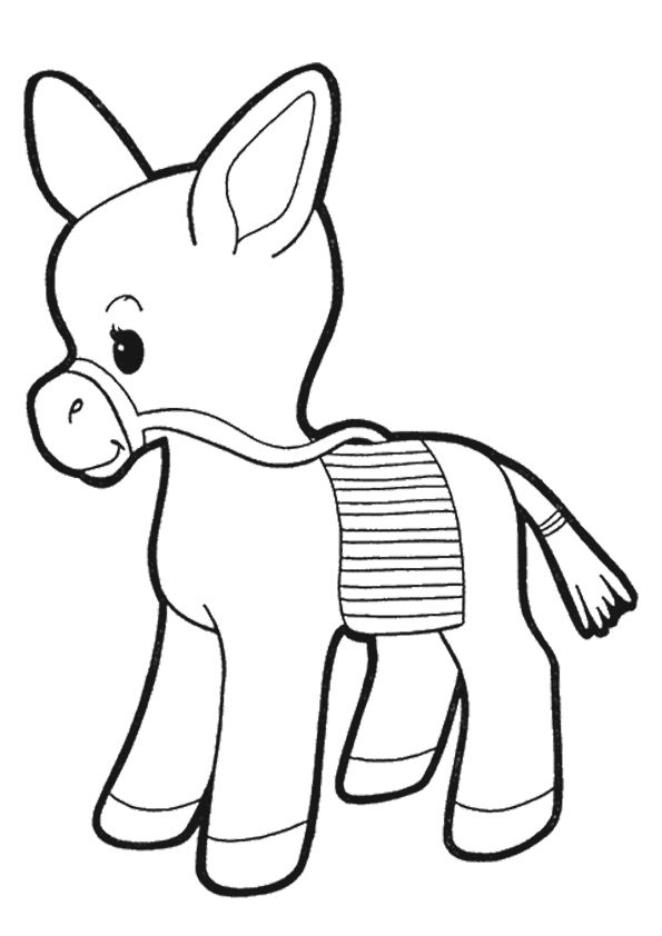 print coloring image Donkey and Animal templates