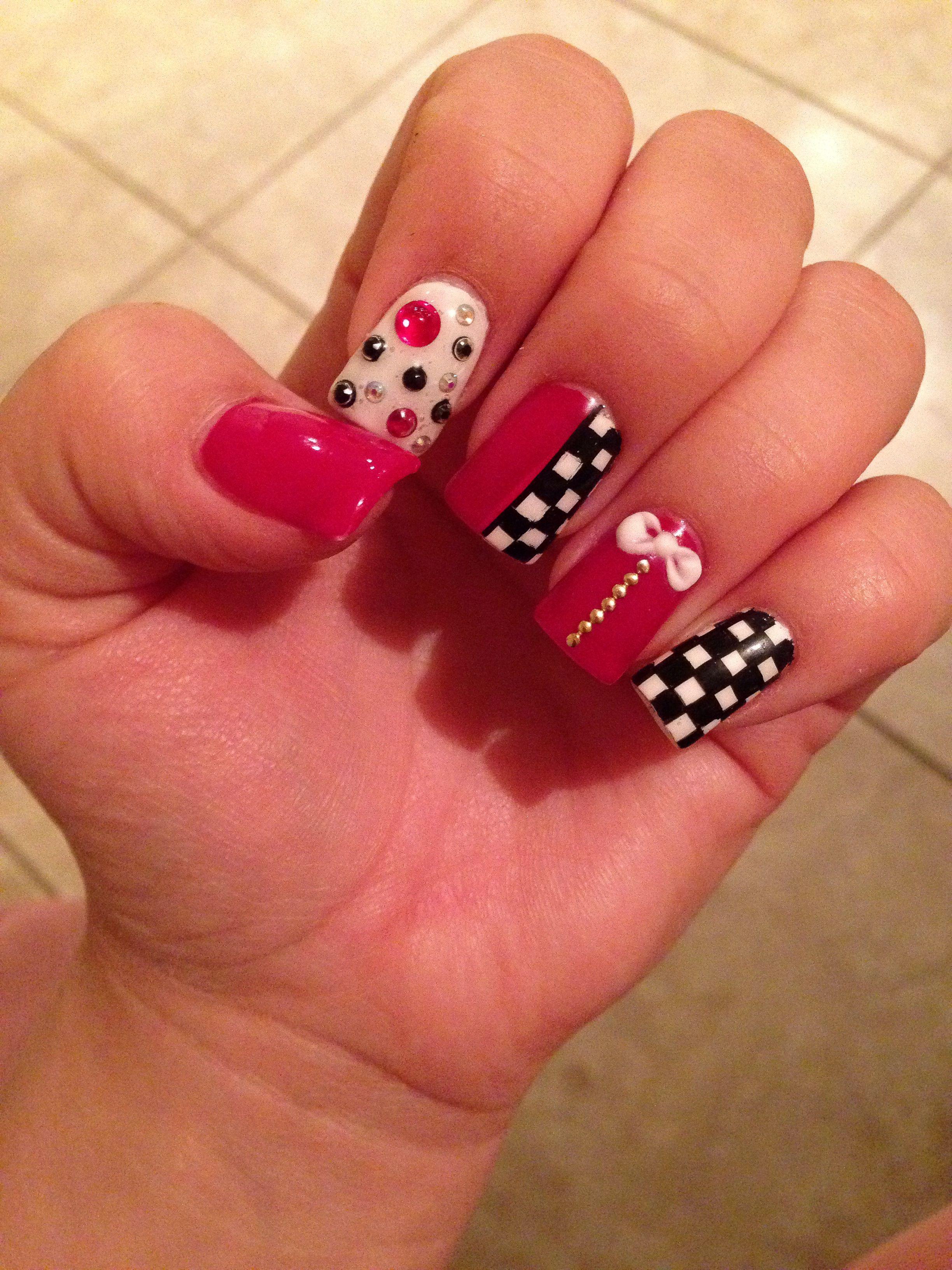Nails red cars checkered / uñas rojo carros carreras | estilooos ...