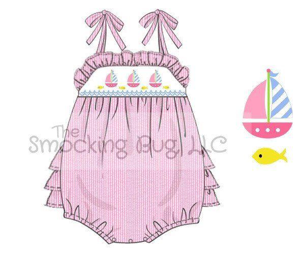 Pink Seersucker Smocked Sailboats Tie Shoulder Ruffle Bottom Bubble