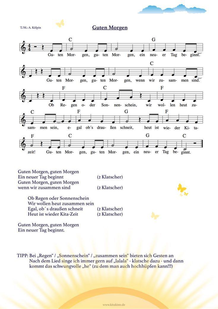 Morgenlied für den #kindergarten – ideal für #morgenkreis und #begrüßung – G – Einrichtungsideen Marketing