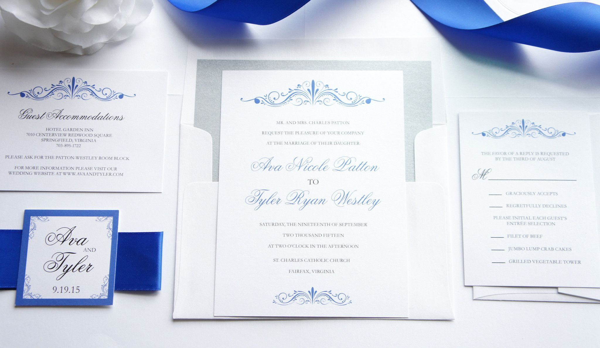 Royal Blue Wedding Invitation Sample Set Wedding Invitations