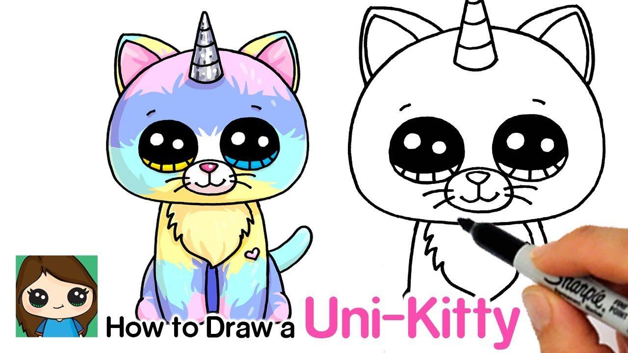 How To Draw A Unicorn Kitty Easy Beanie Boos Kitty Drawing Cute Kawaii Drawings Kawaii Drawings