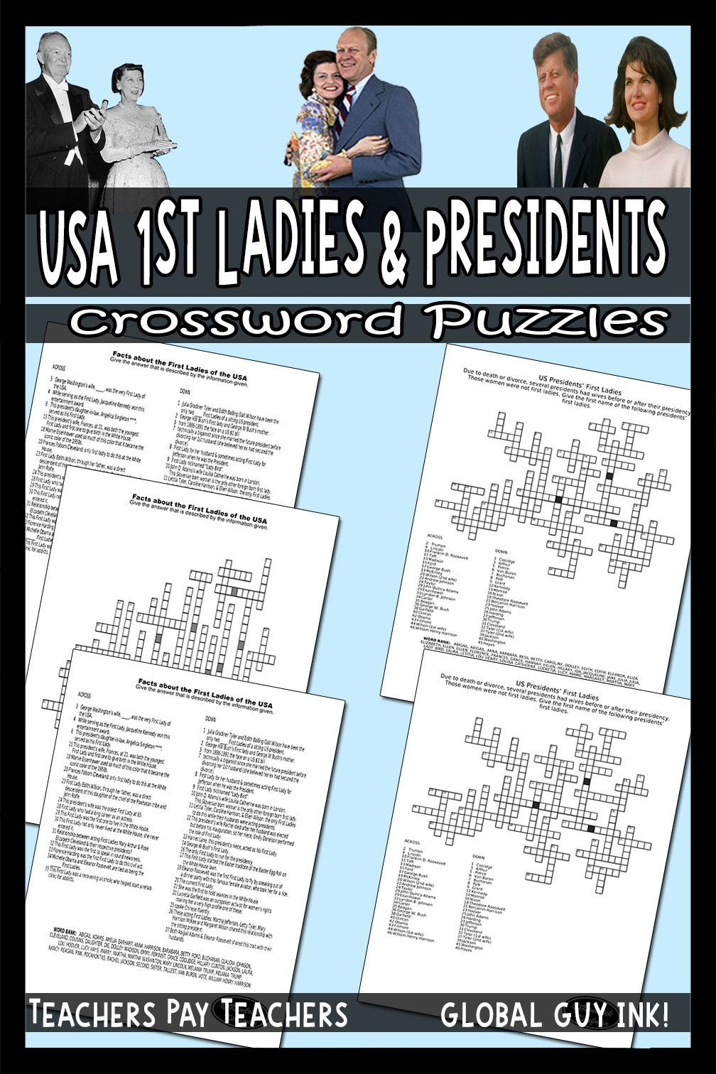 US Presidents & US First Ladies Crossword Puzzles #presidents
