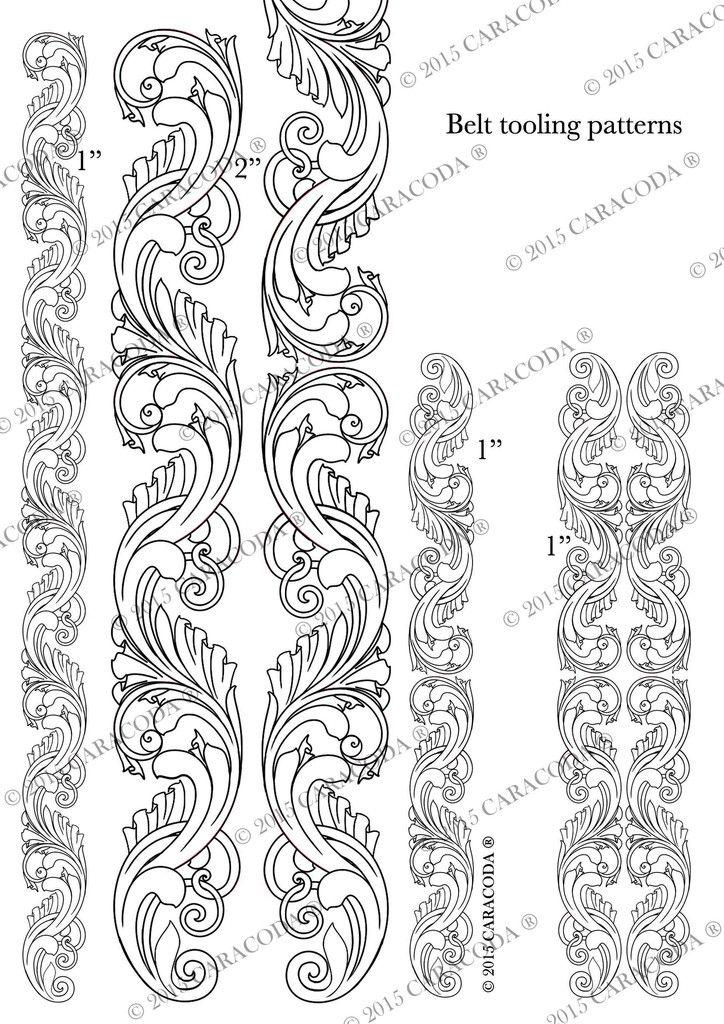 Leathercraft Tooling Pattern Belt A4 001 Leather Craft Patterns Leather Tooling Patterns Tooling Patterns
