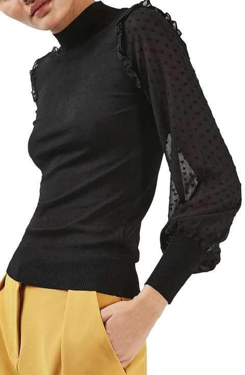 Topshop Chiffon Sleeve Sweater