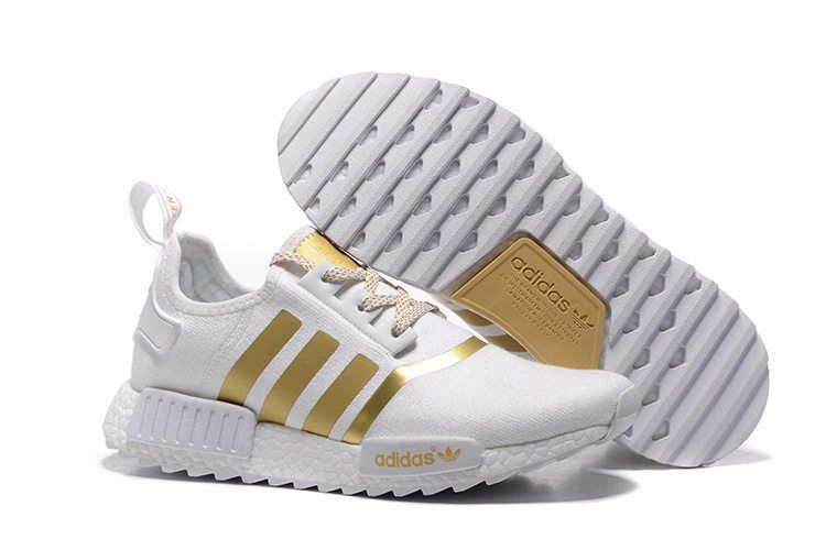 2fd4da012aeac Trendy Couples Adidas NMD Runner Primeknit Trail Running Shoes White Gold