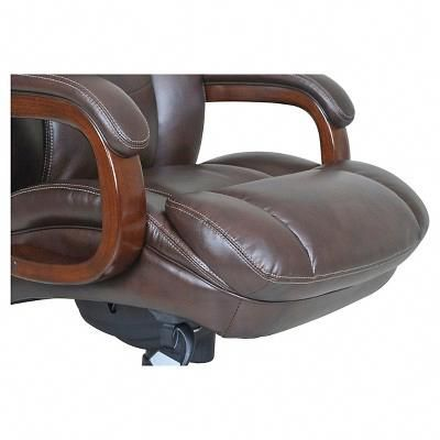 La Z Boy Big Tall Executive Leather Office Chair Black Upholstered On Casters Brown Executivechair
