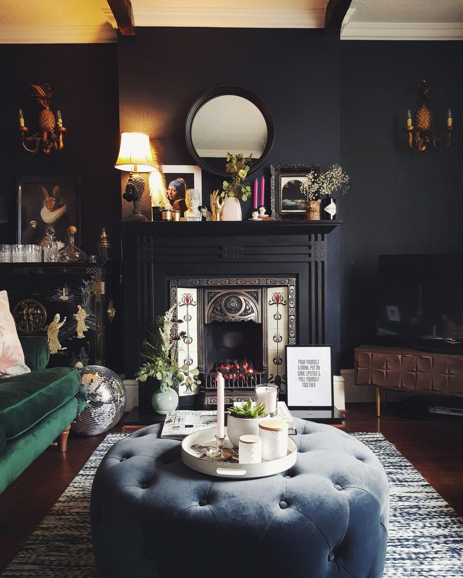 Dark And Moody Victorian Living Room Interior Black Fireplace Dark Blue Walls Velvet Furniture Dark Blue Living Room Black Living Room Living Room Design Dark