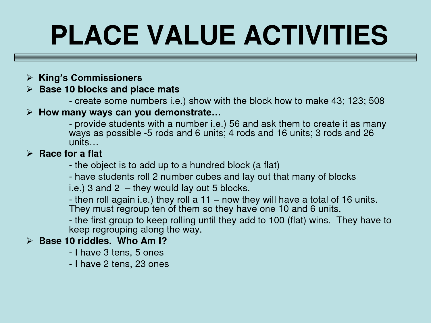 Activities Place Value
