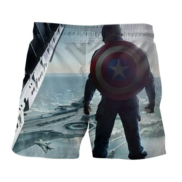 9600b44514c33 Captain America Standing With His Shield Awesome Boardshorts #CaptainAmerica  #Standing #With #His #Shield #Awesome #Boardshorts