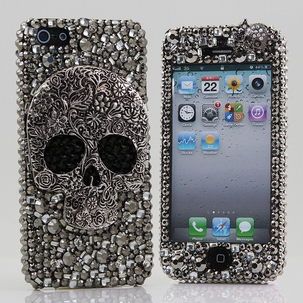 cbf5e19a90e Bling Cases, Handmade 3D Skull Design crystals case for iphone 5, iphone  5s, iphone 6, Samsung Galaxy S4, S5, Note 2, Note 3, LG, HTC, Sony –  LuxAddiction. ...
