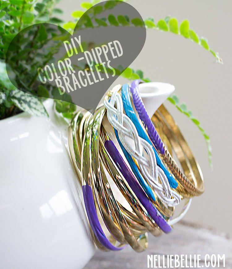 DIY color-dipped bracelets. So easy! A great way to revive my bangles!