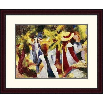 "Global Gallery 'Girls Among Trees' by August Macke Framed Painting Print Size: 24.37"" H x 30"" W x 1.5"" D"
