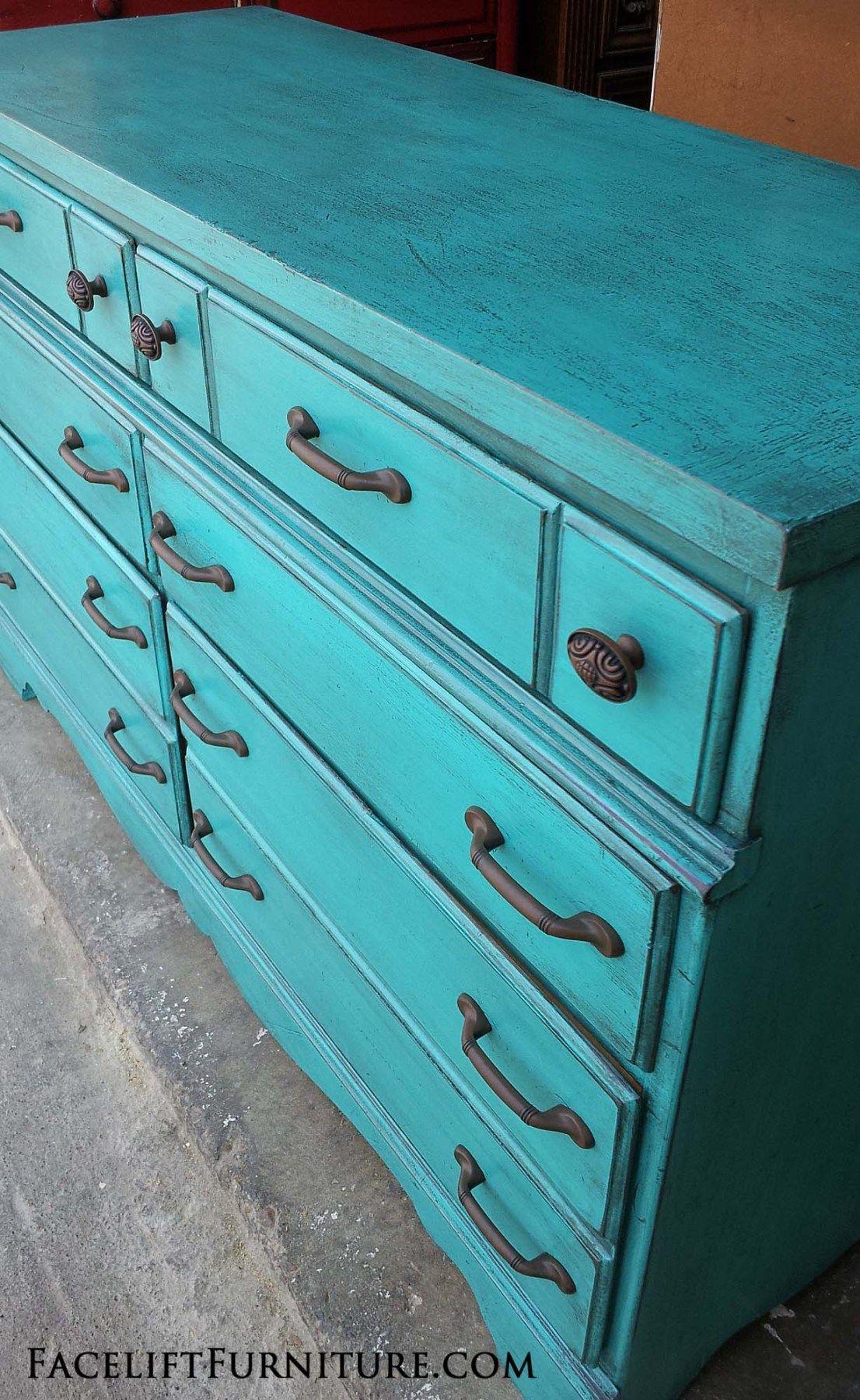 Rustic Turquoise Maple Dresser