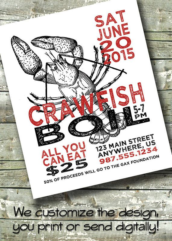 Crawfish Boil Crab Party Poster Flyer EVENT by ...