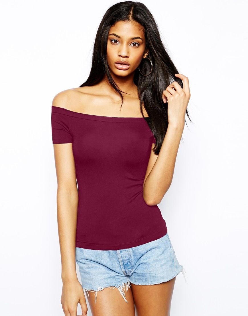 ASOS Top with Bardot Neckline and Short Sleeve