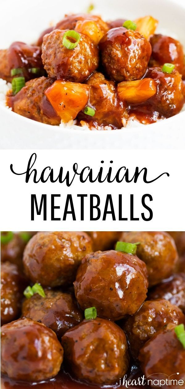 Slow Cooker Hawaiian Meatballs - This recipe takes only 3 ingredients and 5 minutes to make! #meatballs #appetizers #gameday #gamedayfood #gamedayrecipes #easyrecipe #crockpot #slowcooker #crockpotrecipes #slowcookerrecipes #recipes #iheartnaptime