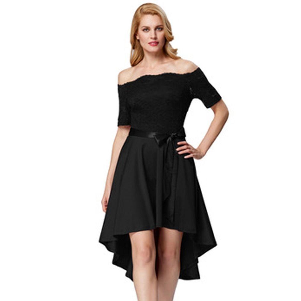 Grace karin off shoulder black prom dress lace high low elegant