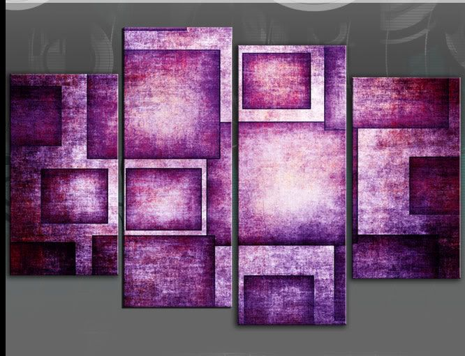 Canvas Wall Art | More Information Bold Purple Geometric Rectangles  Abstract 4 Panel .