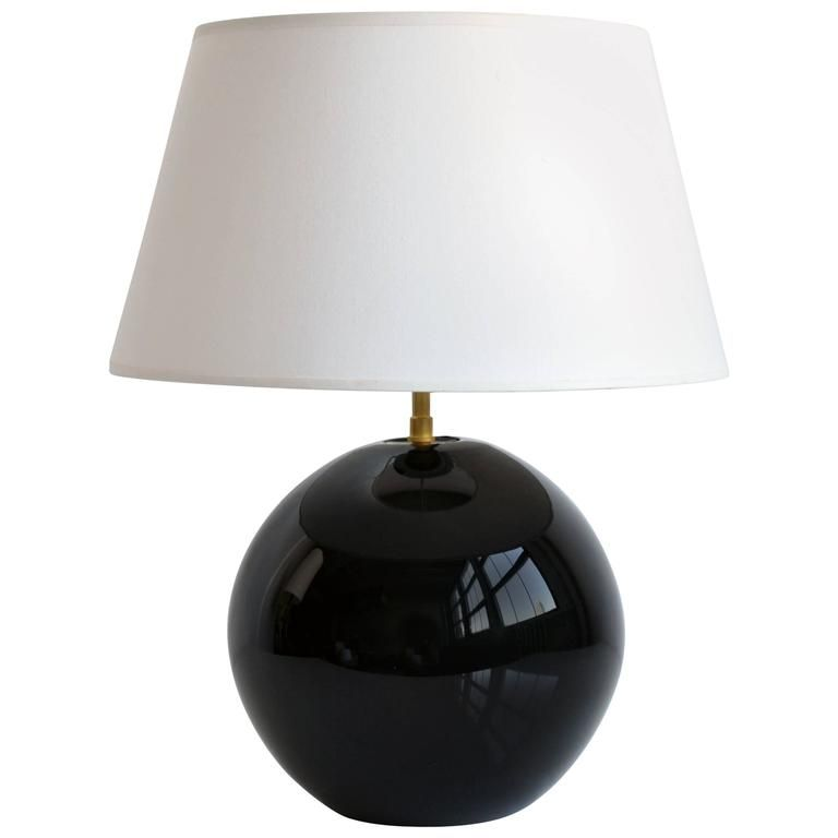 Spherical black glass table lamp