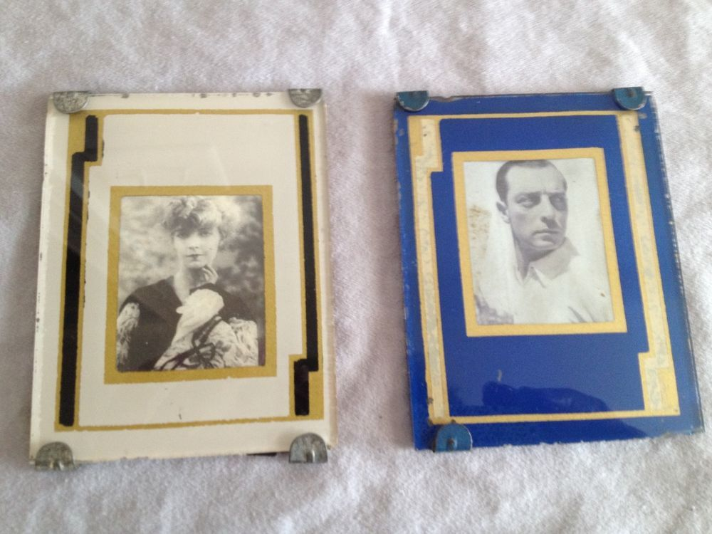 Vintage Art Deco Picture Frame Reverse Painted Glass Two Plus 2 ...