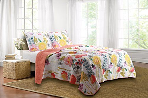 Oversized King Quilts Boho Style Fl Home 3 Piece Watercolor Dream Quilt Set