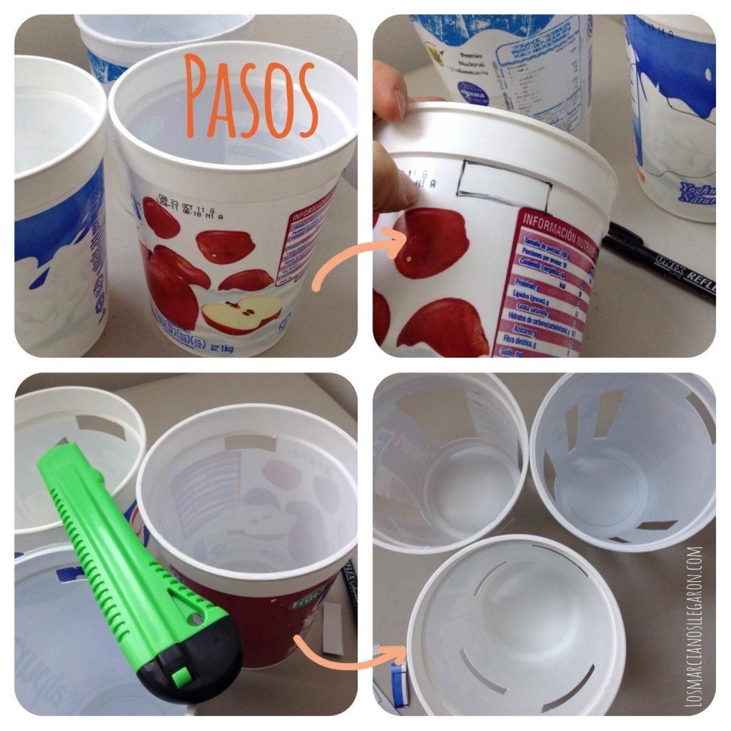 C mo hacer organizadores con vasos de pl stico que idea - Vasos para yogurt ...