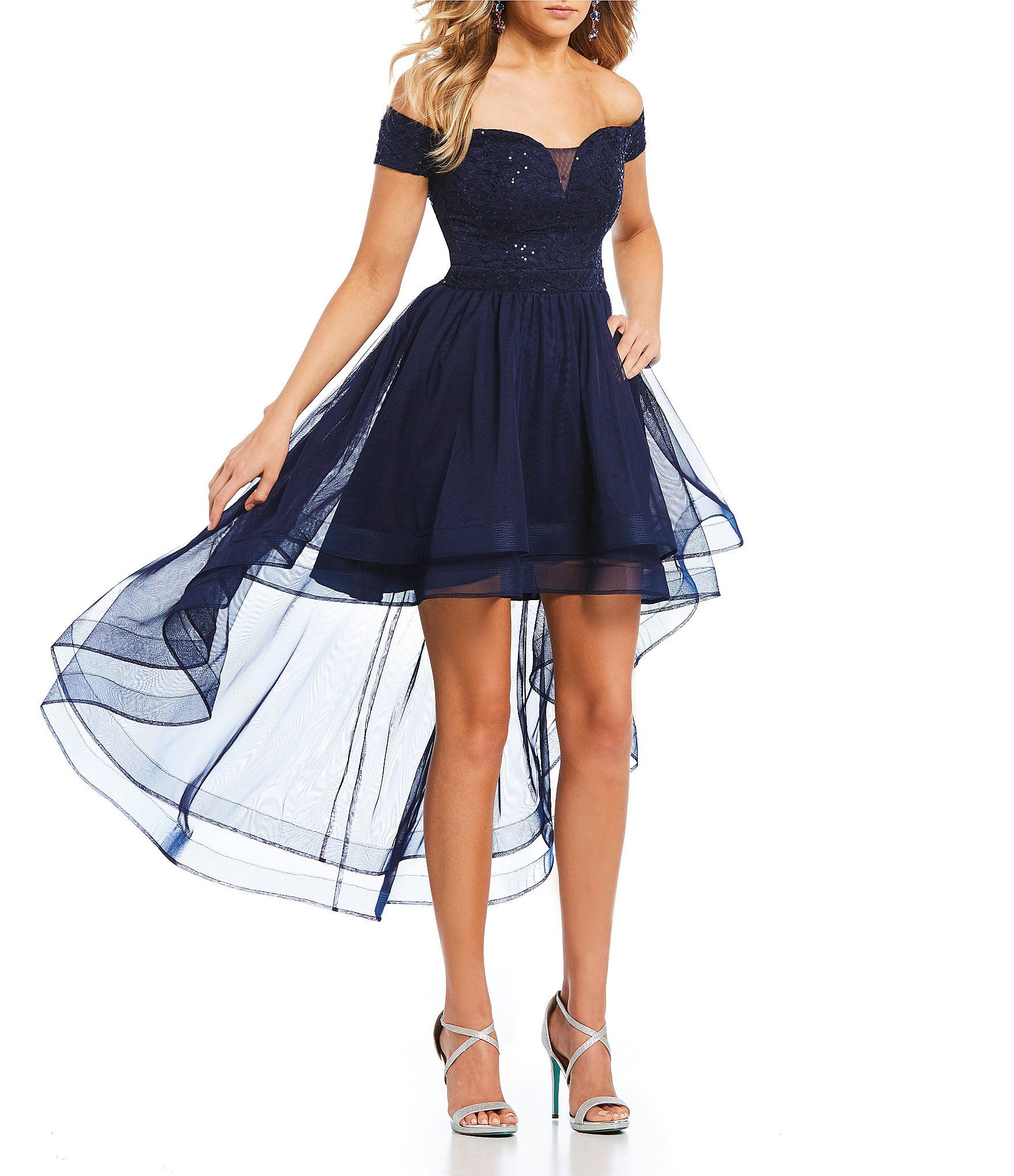 B darlin offtheshoulder mesh highlow dress in dresses