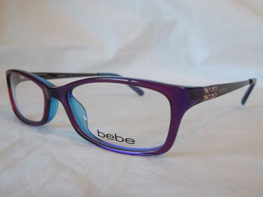 2387c378590 BEBE EYE GLASSES FRAME ENVY BB5044 513 PURPLE CRYSTAL 53-17-135 NEW    AUTHENTIC  BEBE