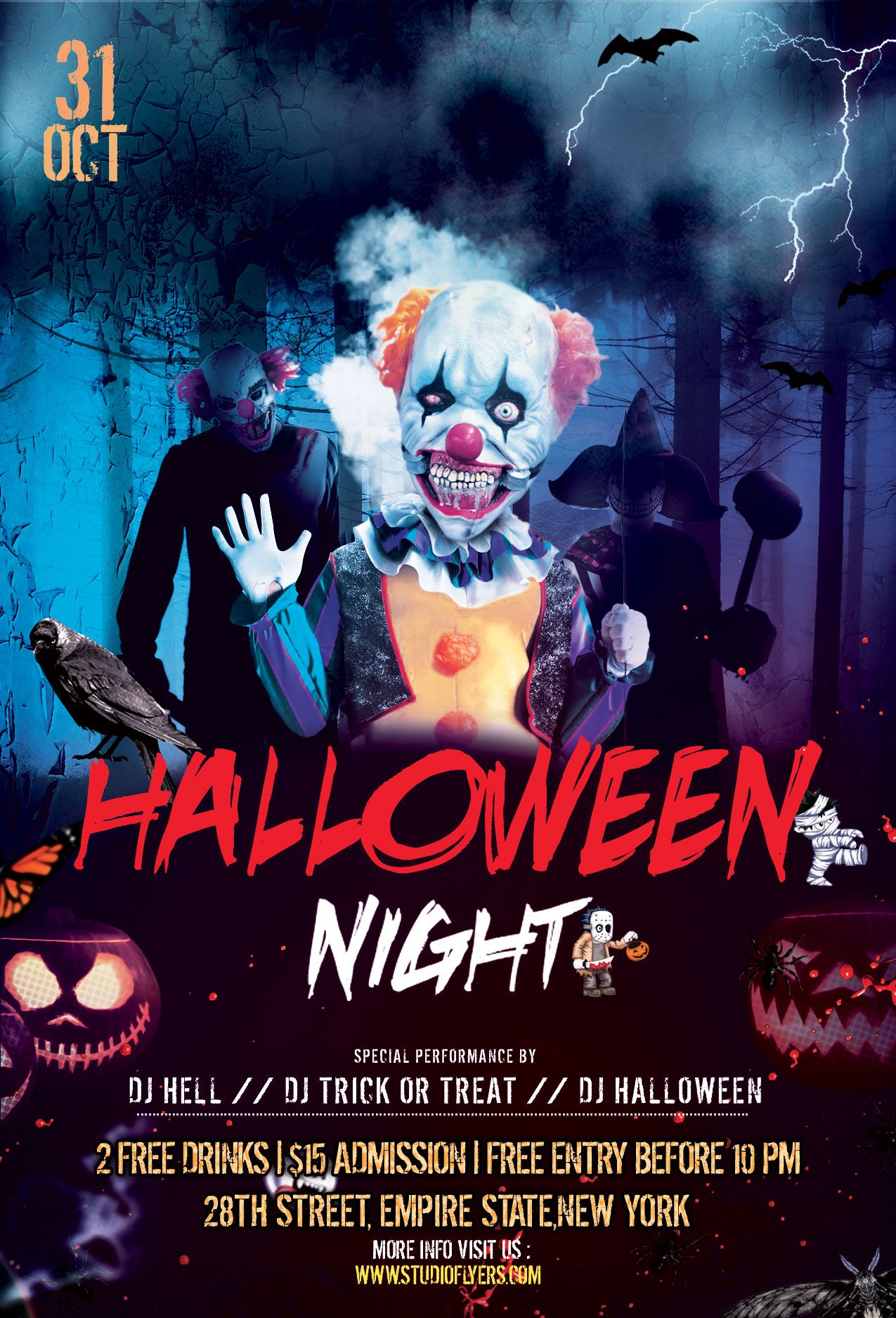 Clown Halloween Nightmare Free PSD Flyer Template Free