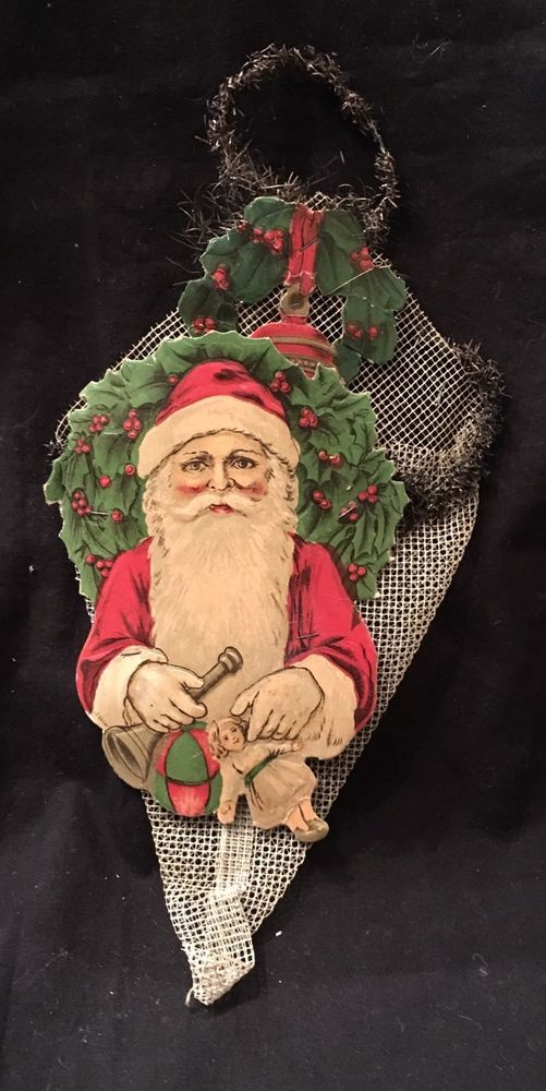 Weihnachtsbilder Antik.Super Antique Net Candy Cornucopia With Tinsel And Santa Scrap