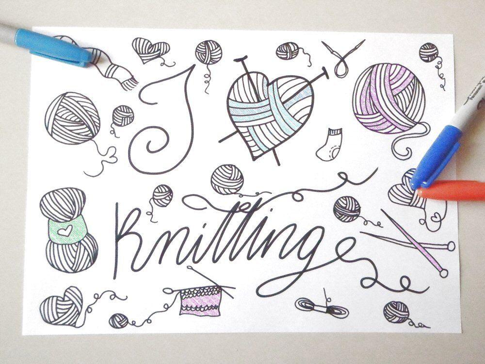 Lavorare A Maglia Da Colorare Per Adulti Bambini I Love Etsy Printable Print Coloring Books Instant Download Etsy