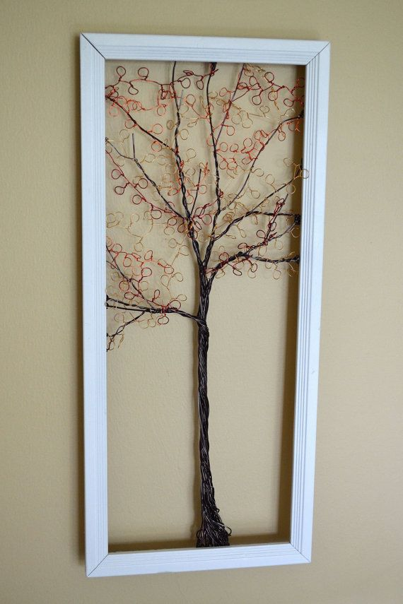 Framed wall art jewelry organizer holder wire by creativeartbyme framed wall art jewelry organizer holder wire autumn tree with leaves useful wire art solutioingenieria Gallery