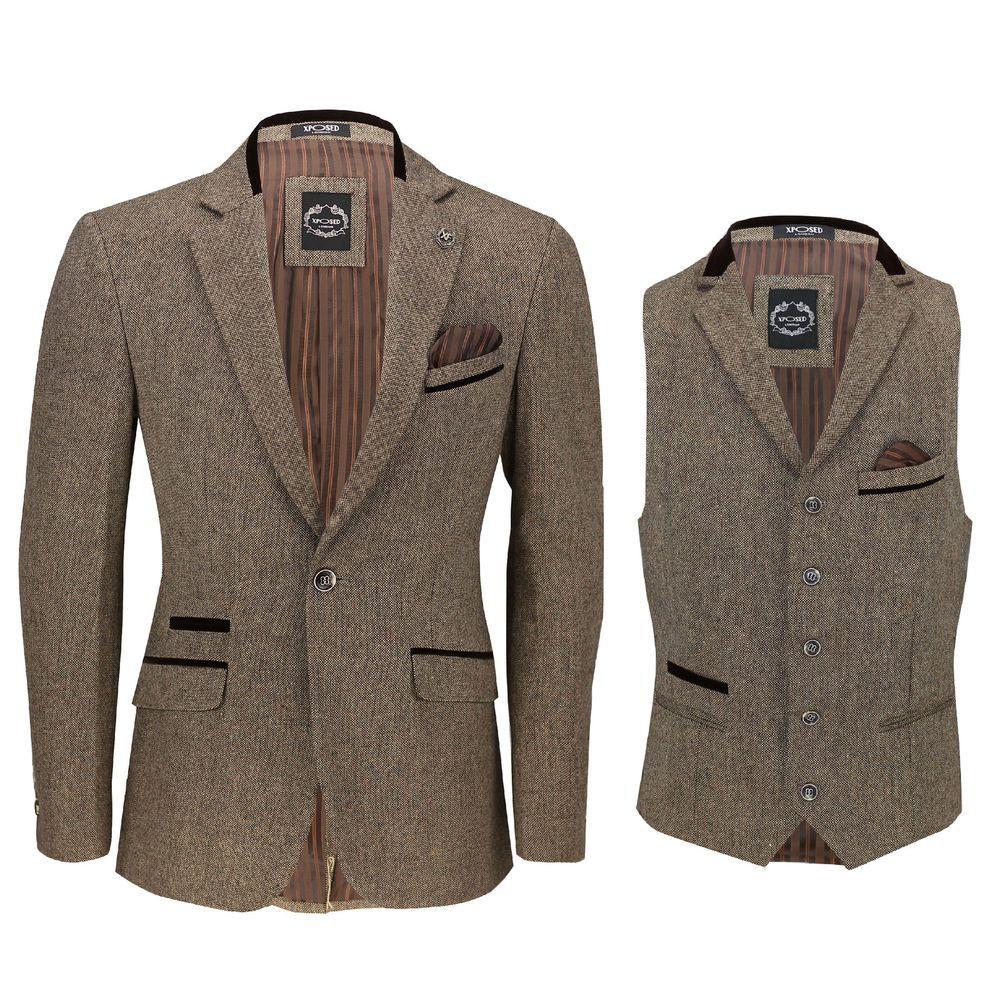 Mens Herringbone Tweed Vintage Check Waistcoat Velvet Trim Blue Brown Grey