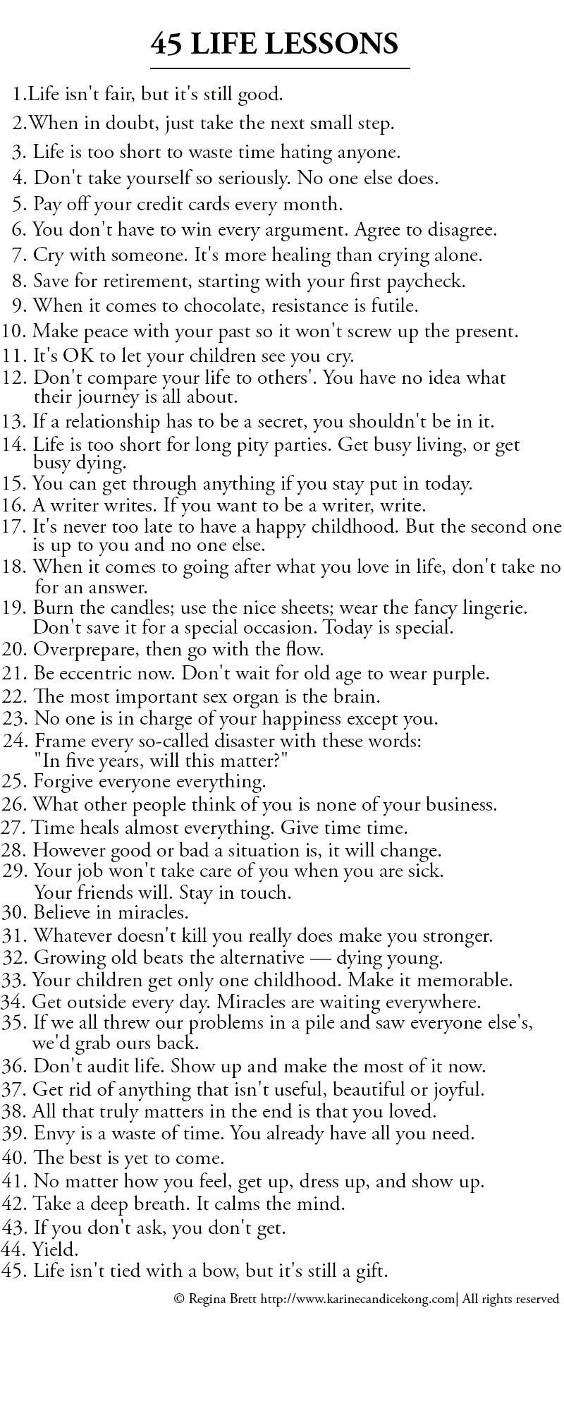 Life lessons.