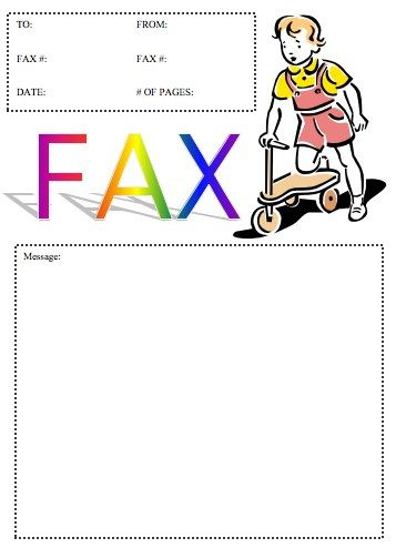A little girl rides a scooter on this printable cover sheet that - fax cover templates