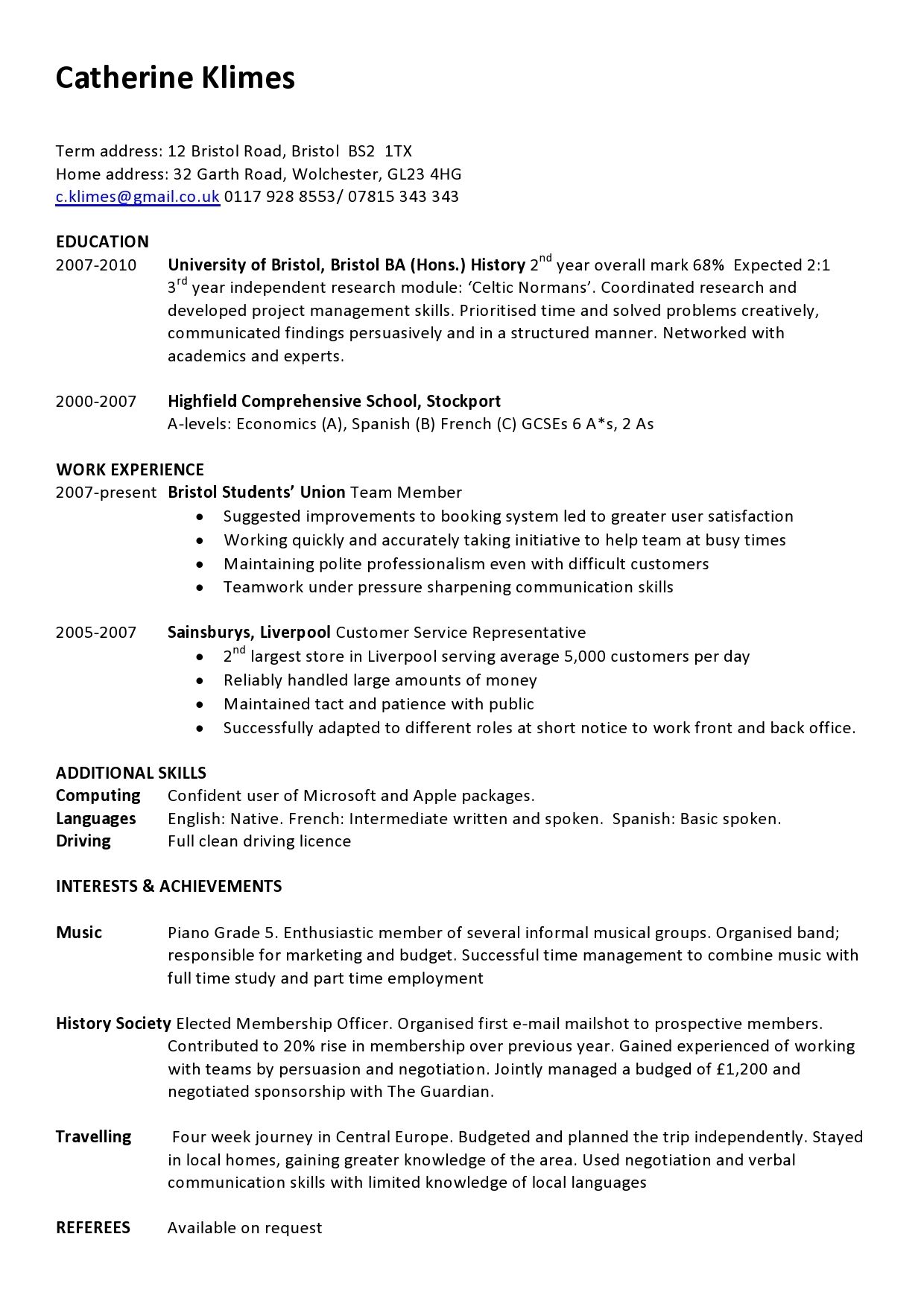 example of a one page cv