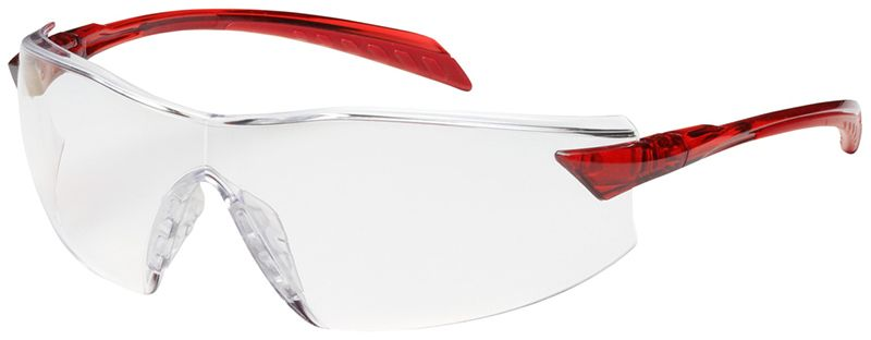 Bouton radar safety glasses with red temple and clear anti