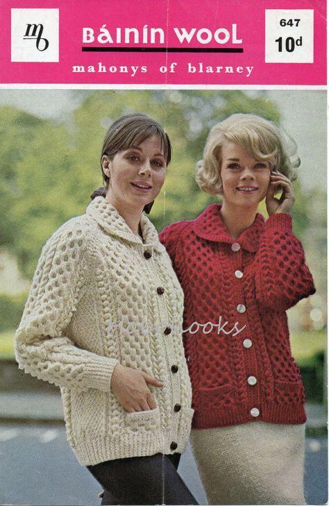 womens aran cardigan knitting pattern aran jacket with collar 34-40 ...