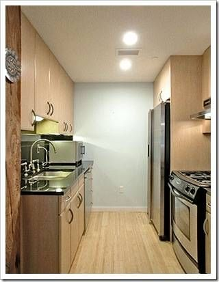 the experts are telling me that light colored cabinets should be used in galley style kitchens - Galley Apartment 2015