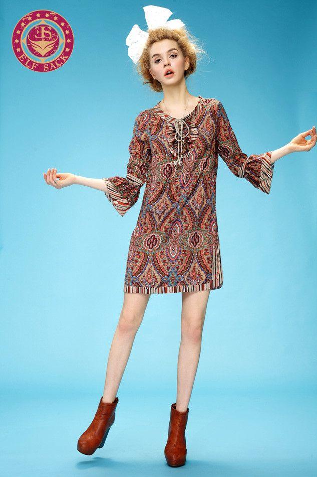 Womens Fashion Baroque Exotic Style Printing Loose Flouncy Dress